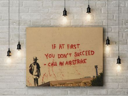 Banksy: Airstrike. Fine Art Canvas.